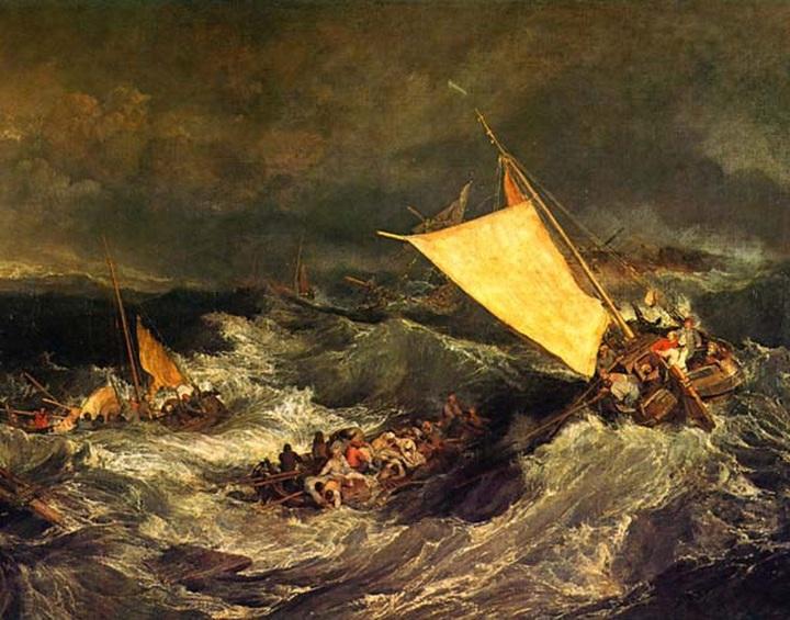 難破船:乗組員の救助に努める漁船