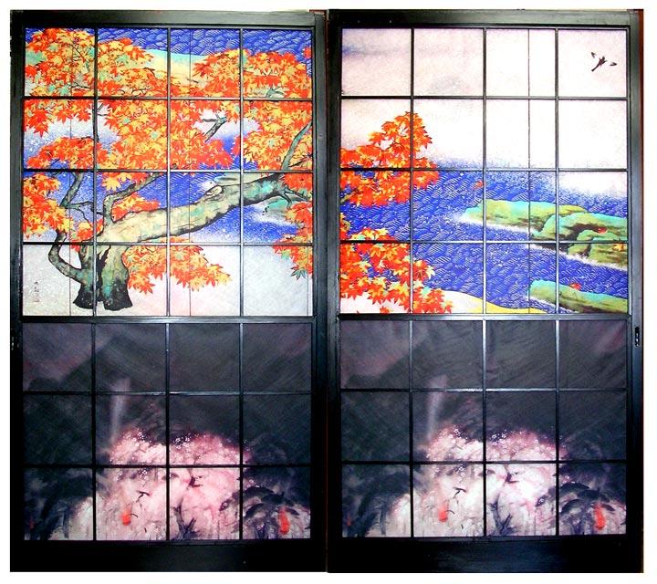 【障子】上段:横山大観「紅葉」 下段:冨田溪仙「祇園夜桜」
