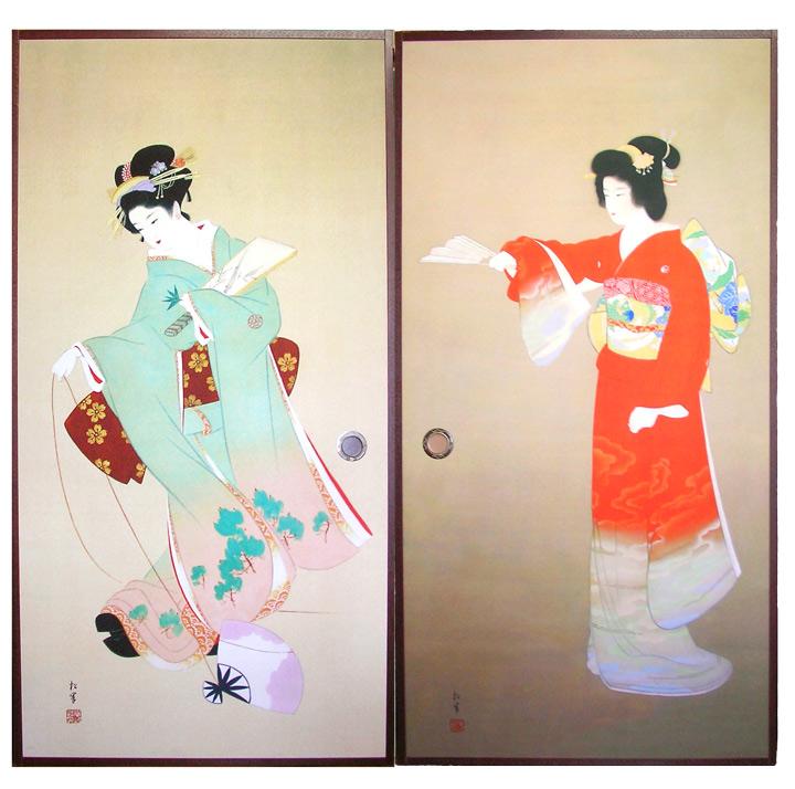 【襖】左:上村松園「初春」 右:上村松園「序の舞」