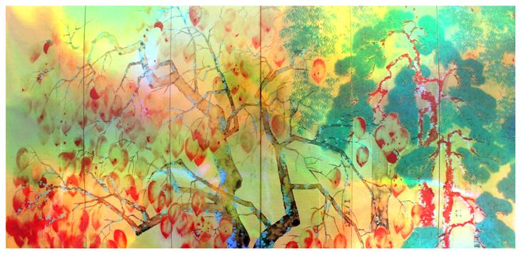 【額装ホログラムプリント】横山大観「夜桜(左隻)」