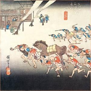 【特選浮世絵】「東海道五十三次 宮・熱田神事」【ハンカチ】
