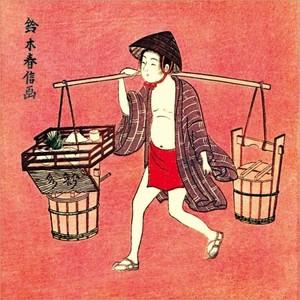 【特選浮世絵】水売り【ハンカチ】