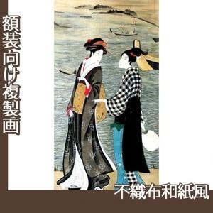 歌川豊広「河辺の納涼美人」【複製画:不織布和紙風】