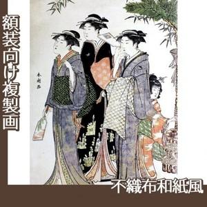 勝川春潮「羽子板を持つ美人図」【複製画:不織布和紙風】