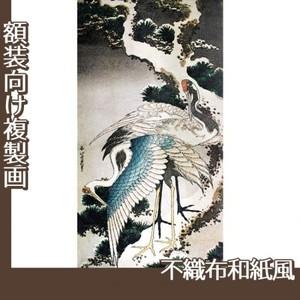 葛飾北斎「雪松に鶴」【複製画:不織布和紙風】