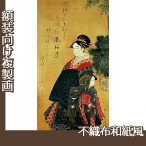窪俊満「年始回礼の遊女と禿図」【複製画:不織布和紙風】
