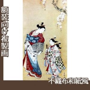 東艶斎花翁「桜下遊女と禿図」【複製画:不織布和紙風】