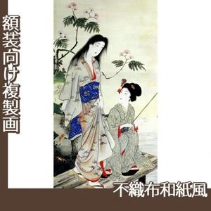 橋本周延「美人釣魚図」【複製画:不織布和紙風】