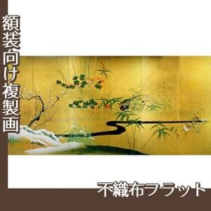 酒井抱一「四季花鳥図屏風」【複製画:不織布フラット100g】