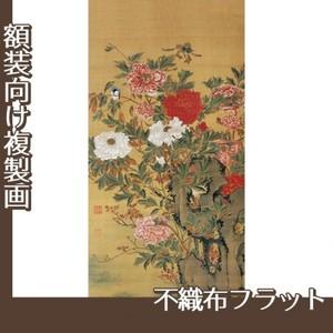 伊藤若冲「牡丹図(双幅)」【複製画:不織布フラット100g】