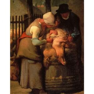 ミレー「羊の毛を刈り取る人たち」【ハンカチ・コースター・複製画】