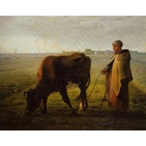 ミレー「牝牛に草を食べさせる女」【ハンカチ・コースター・複製画】