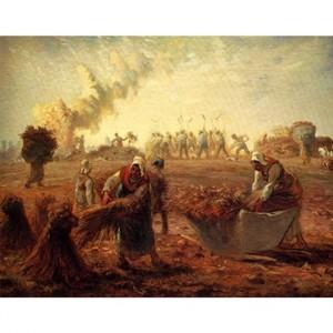 ミレー「夏:蕎麦の収穫」【ハンカチ・コースター・複製画】