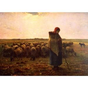 ミレー「羊飼いの少女」【ハンカチ・コースター・複製画】