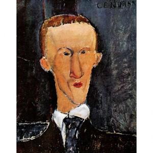 モディリアニ「ブレーズ・サンドラールの肖像」【ハンカチ・コースター・複製画】