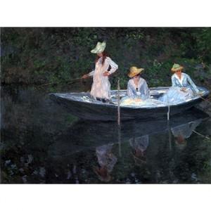 モネ「ジベルニーの舟遊び」【ハンカチ・コースター・複製画】