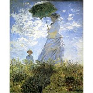 モネ「散歩、日傘をさす女」【ハンカチ・コースター・複製画】