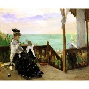 モリゾ「海岸のヴィラにて」【ハンカチ・コースター・複製画】
