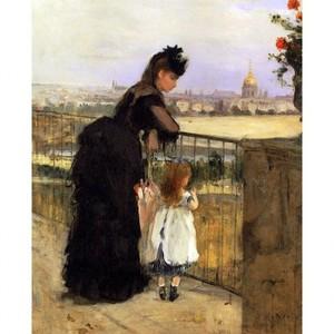 モリゾ「フランクラン通りのモリゾ家のテラスにいる女性と子供」【ハンカチ・コースター・複製画】