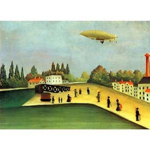 ルソー「飛行船のとぶ風景」【ハンカチ・コースター・複製画】
