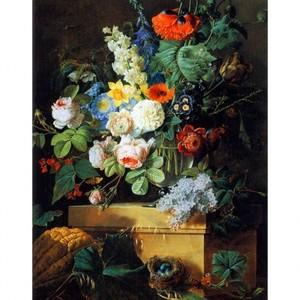ルドゥーテ「ガラスの花瓶の花」【ハンカチ・コースター・複製画】