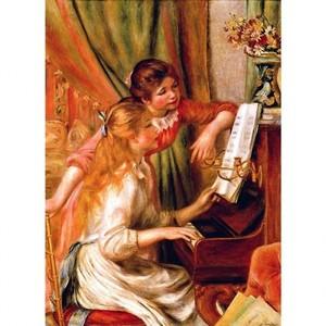 ルノワール「ピアノに寄る娘たち」【ハンカチ・コースター・複製画】