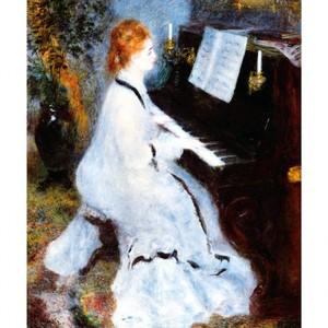 ルノワール「ピアノを弾く婦人」【ハンカチ・コースター・複製画】