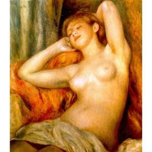 ルノワール「眠る裸婦」【ハンカチ・コースター・複製画】