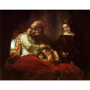 レンブラント「ヨセフの息子を祝福するヤコブ」【ハンカチ・コースター・複製画】