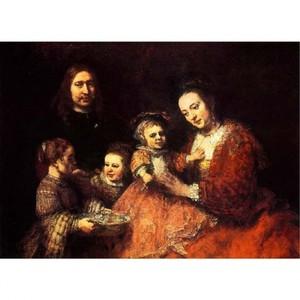 レンブラント「夫婦と三人の子供」【ハンカチ・コースター・複製画】