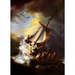 レンブラント「ガリラヤの海の嵐」【ハンカチ・コースター・複製画】