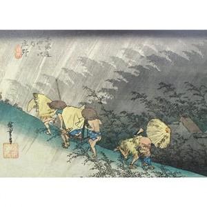 【特選浮世絵】東海道五拾三次 庄野・白雨【窓飾り】