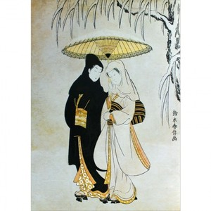 【特選浮世絵】雪中相合傘【窓飾り】