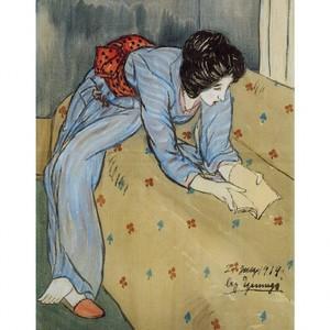 竹久夢二「ソファーで本を見る女」【ハンカチ・コースター・複製画】