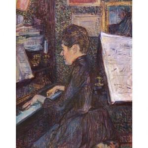 ロートレック「ピアノを弾くディオ嬢」【ハンカチ・コースター・複製画】