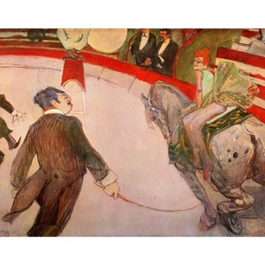 ロートレック「サーカス・フェルナンド:女曲馬師」【ハンカチ・コースター・複製画】