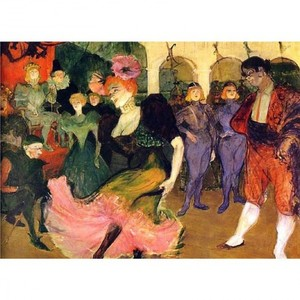 ロートレック「シルぺリックのボレロを踊るマルセル・ランデール」【ハンカチ・コースター・複製画】