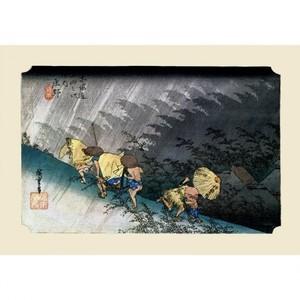 歌川広重「東海道五拾三次 庄野・白雨」【ハンカチ・コースター・複製画】