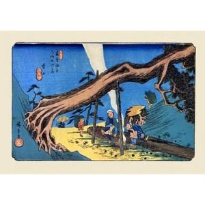 歌川広重「木曾街道六拾九次之内 本山」【ハンカチ・コースター・複製画】