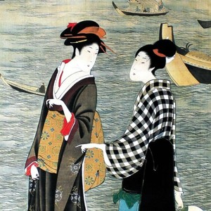 歌川豊広「河辺の納涼美人」【ハンカチ・コースター・複製画】