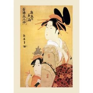 栄松斎長喜「青楼美人合 扇屋内華扇」【ハンカチ・コースター・複製画】