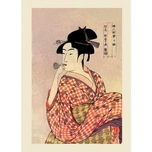 喜多川歌麿「婦人相学十躰 ポッピンを吹く女」【ハンカチ・コースター・複製画】