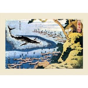 葛飾北斎「千絵の海 五島鯨突」【ハンカチ・コースター・複製画】