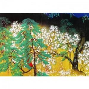 横山大観「夜桜(右隻)」【窓飾り】