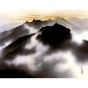 横山大観「秩父霊峰春暁」【窓飾り】