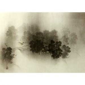 横山大観「瀟湘八景・瀟湘夜雨2」【窓飾り】