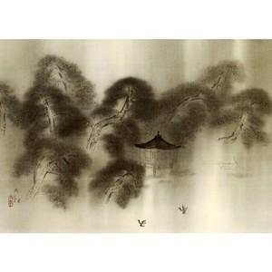 横山大観「洛中洛外雨十題・堅田暮雨」【窓飾り】