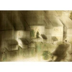 横山大観「洛中洛外雨十題・辰巳橋夜雨」【窓飾り】