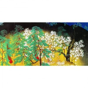 横山大観「夜桜(右隻)」【額装向け複製画】