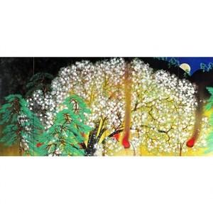 横山大観「夜桜(左隻)」【額装向け複製画】